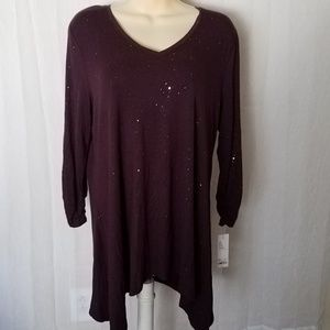Midnight Grape Gold Sparkle Tunic Blouse